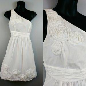 Kensie white midi one shoulder sun dress